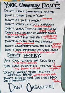 Cartaz colocado pela universidade de Toronto dias antes da primeira SlutWalk do mundo